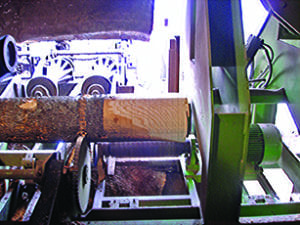 Butt flare reducer for log processing at sawmills and veneer mills.