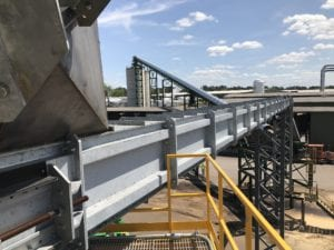 galvanized M-Series conveyor for waste material from Biomass Engineering & Equipment