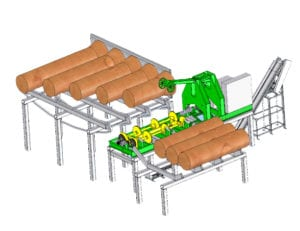 Butt flare reducer with infeed deck rendering.