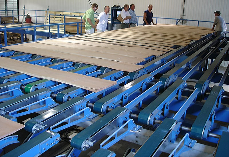 Automation engineering: veneer grading table with walkway