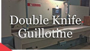 OMPEC double knife guillotine from Veneer Services. O.M.P.E.C. machine. veneer technologies. Veneer cutting machine. Veneer equipment.