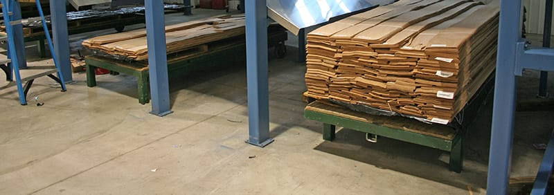 Storage bays for sliced and sorted wood veneer - veneer grading line foundations from Veneer Services