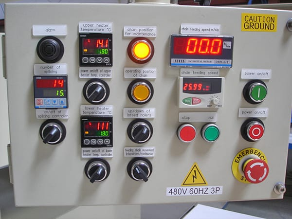 Splicer controls panel - furniture making equipment - woodworking equipment controls